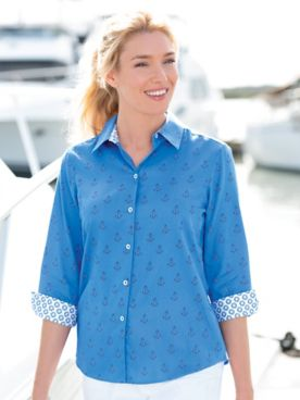 Foxcroft  Anchor's Aweigh Three-Quarter Sleeve Shirt