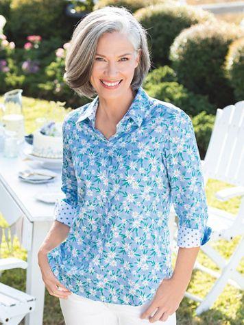 Foxcroft  Daisies & Dots Shirt - Image 1 of 2
