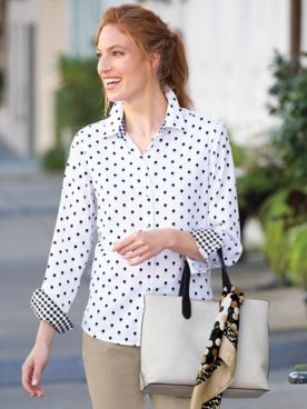 Foxcroft Shadow-Dot & Gingham Shirt