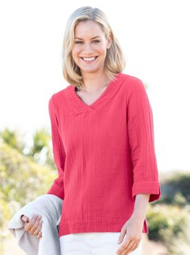 Nantucket Textured-Cotton V-Neck Top
