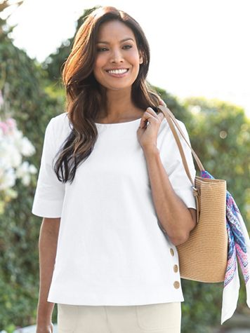 Captiva Cotton Side-Button Top - Image 1 of 4