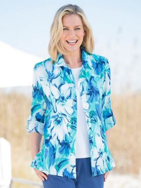 Watercolor Floral Crinkle Cotton Shirt