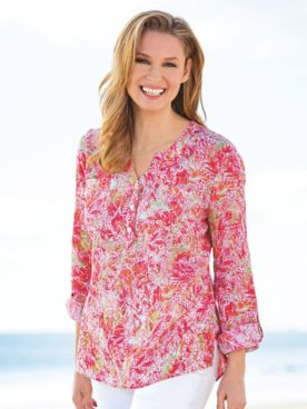 Tropical Palm Crinkle Cotton Y-Neck Tunic