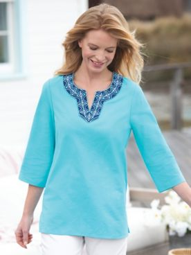 Captiva Embroidered Split-Neck Tunic