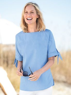 Cotton Chambray Tie-Sleeve Tunic