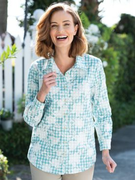 Floral-Embroidered Gingham Tunic