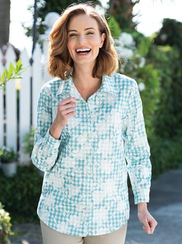Floral-Embroidered Gingham Tunic - Image 3 of 3