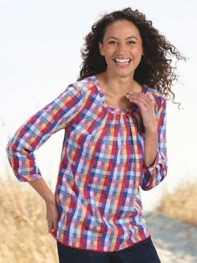 Summer Plaid Cotton Top