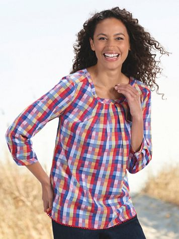 Summer Plaid Cotton Top - Image 4 of 4