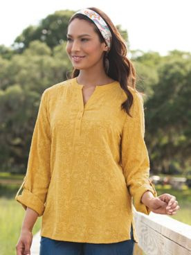 Allover Embroidered Floral Popover Tunic