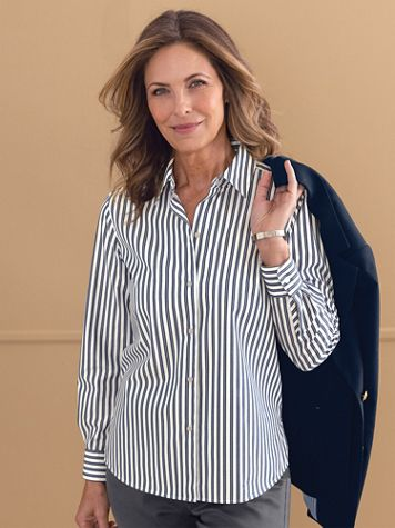 Foxcroft® No-Iron Perfect-Fit Tri-Stripe Long-Sleeve Shirt - Image 1 of 8