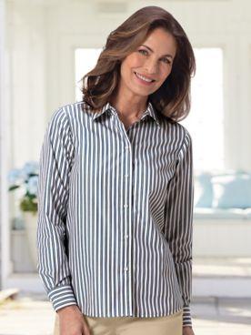 Foxcroft® No-Iron Perfect-Fit Tri-Stripe Long-Sleeve Shirt