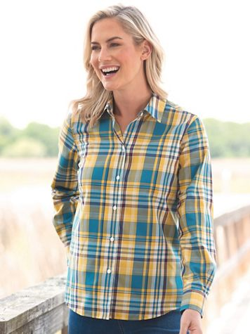 Foxcroft Perfect-Fit No-Iron Plaid Long-Sleeve Shirt - Image 1 of 4