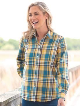 Foxcroft Perfect-Fit No-Iron Plaid Long-Sleeve Shirt