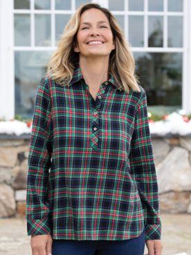 Lightweight Tartan Flannel Popover Shirt