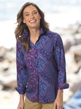 Foxcroft® Medallion Paisley No-Iron Cotton Perfect-Fit Shirt