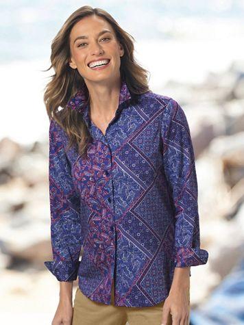 Foxcroft® Medallion Paisley No-Iron Cotton Perfect-Fit Shirt - Image 4 of 4