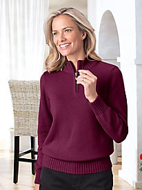 Ribbed Trim 1/4-Zip Pullover