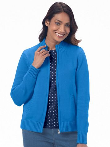 Zip-Front Cotton Cardigan Sweater - Image 1 of 7