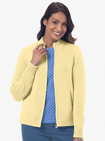 Zip-Front Cotton Cardigan Sweater - Image 1 of 8