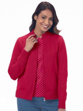 Zip-Front Cotton Cardigan Sweater