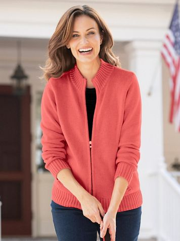 Zip-Front Cotton Cardigan Sweater - Image 3 of 8