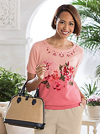 Embellished Floral Pullover Sweater