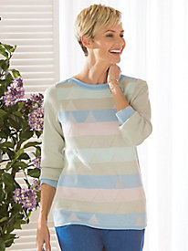 Koret Jacquard Stripe Bateau Neck Sweater