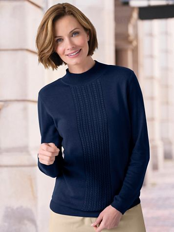 Center Cable Mockneck Sweater - Image 1 of 5