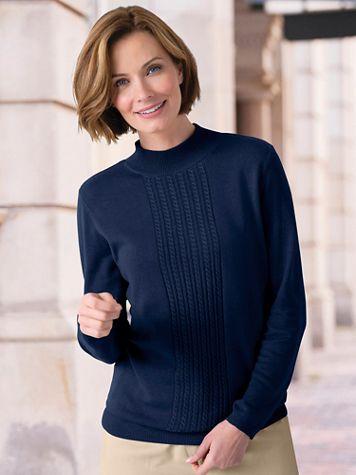 Center Cable Mockneck Sweater