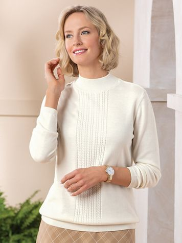 Center Cable Mockneck Sweater - Image 1 of 1