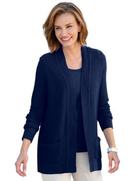 Seedstitch Open-Front Cardigan Sweater