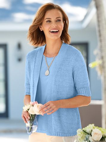 Twist-Yarn Open-Front Short-Sleeve Cardigan - Image 1 of 15