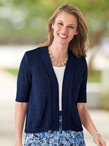 Twist-Yarn Open-Front Short-Sleeve Cardigan - Image 1 of 9