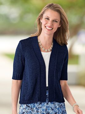 Twist-Yarn Open-Front Short-Sleeve Cardigan