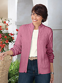 Zip-Front Cable Cardigan