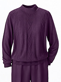 Mockneck Cable Sweater by Alfred Dunner