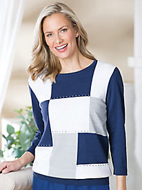 Patchwork Pullover Sweater by Alfred Dunner