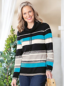 Striped Cowlneck Pullover Sweater