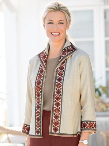 Embroidered Linen Jacket - Image 1 of 2