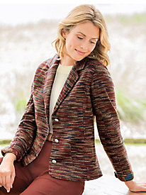 Textured Knit Tweed Jacket