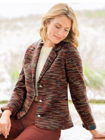 Textured Knit Tweed Jacket - Image 1 of 3