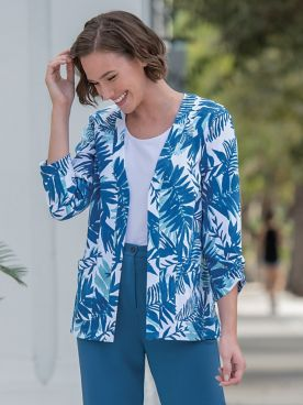 Mystic Breeze Open Front Print Jacket
