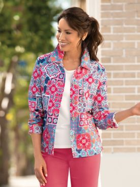 Moroccan Patch Print Jacket