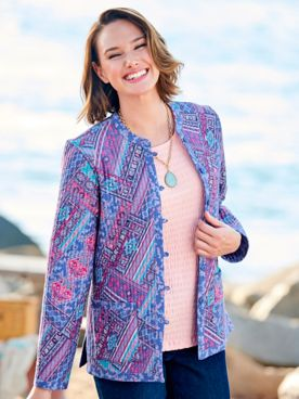 Quilted Cotton Patch-Print Reversible Jacket