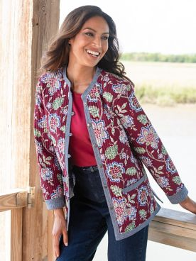 Jacobean Print Reversible Jacket
