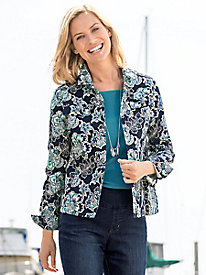 Blue Jacobean Floral Jacket