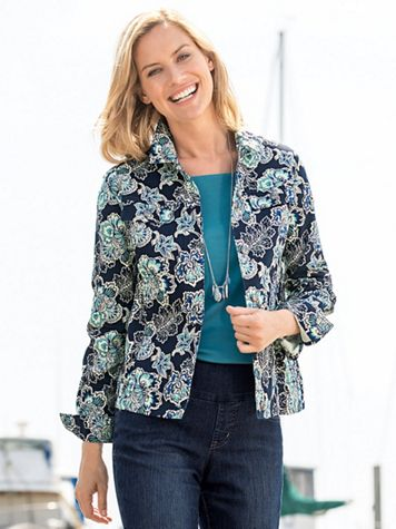 Blue Jacobean Floral Jacket