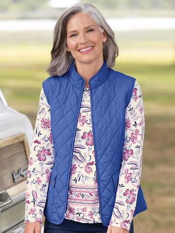 Quilted Solid Zip-Up Vest - Image 1 of 11