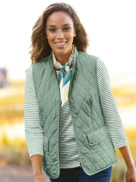 Quilted Solid Zip-Up Vest